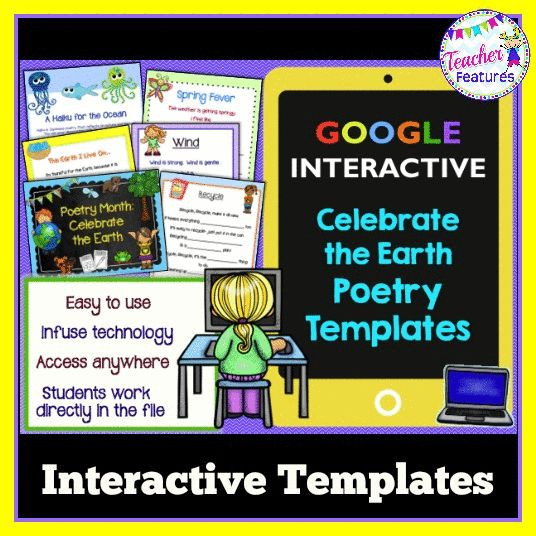 *Fun digital activities for Poetry Month and Earth Day... or anytime! Google Interactive Lesson: Celebrate the Earth Poetry Templates (20 Digital Poetry Frames + Poetry Guides)