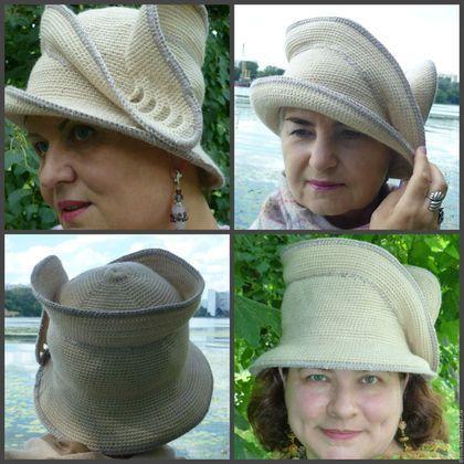Купить или заказать Шляпа 'Чайка' в интернет-магазине на Ярмарке Мастеров. Шляпа посвящена моей подруге Раисе Чайке. По ее совету я стала вязать компактные, комфортные для ношения в городских условиях, шляпы. Они составляют коллекцию 'Горожанка' Как и большинство моих шляп, это трансформер. Носить можно любой стороной, полям можно придавать разную форму. Поля на гибком каркасе выдерживают хранение в пакете и восстанавливают форму.