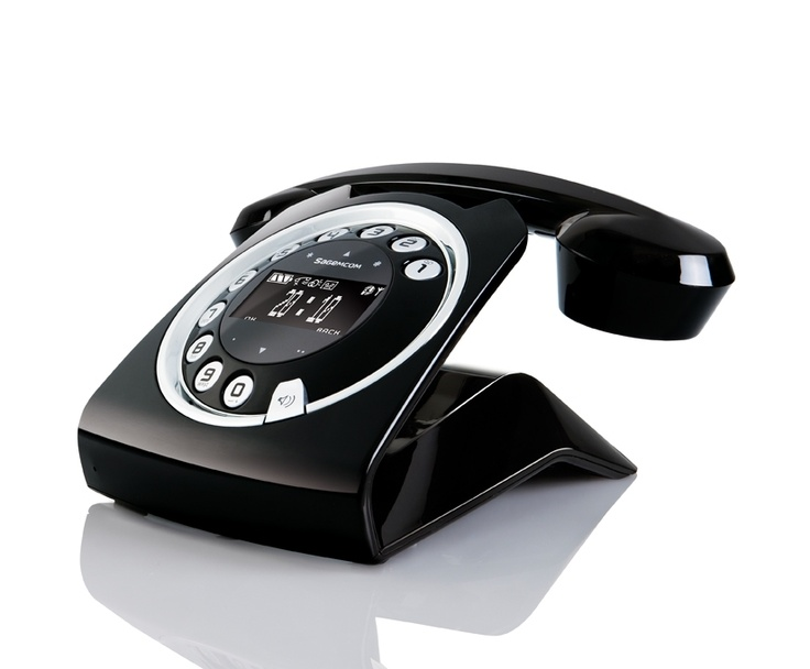 Sagemcom Sixty Digital Cordless Retro Style Telephone With Answering  Machine   Black