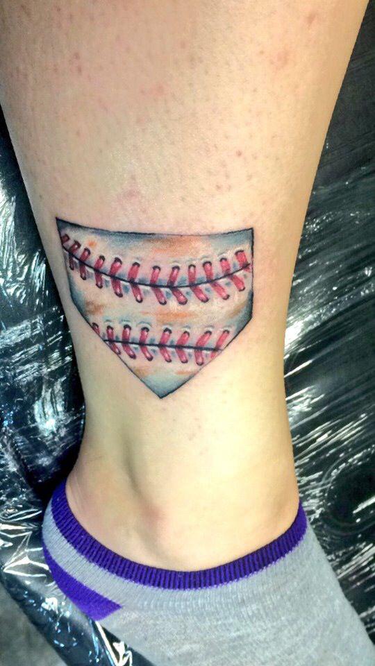 Home plate softball tat⚾️❤️  #softball #tattoo #homeplate