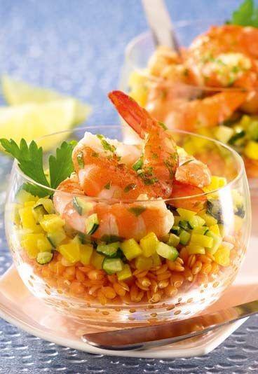 Mettez de la couleur et de la fantaisie dans votre régime Recette #minceur : Lentilles corail aux crevettes roses et paprika - Régime Jenny Craig #regime #recette