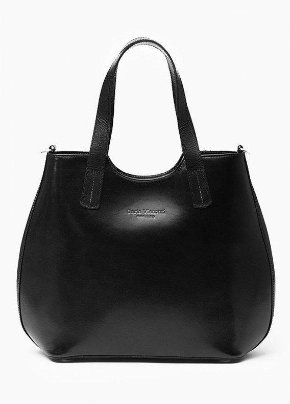 IN PELLE SKÓRZANA TOREBKA CZARNA Oryginalna torba damska włoskiej produkcji (Vera Pelle) wykonana ze skóry naturalnej najwyższej jakości. Skóra gładka, gruba i sztywna z połyskiem. Torba nie odkształca się i nie zagina, dzięki czemu przez cały czas ma nie