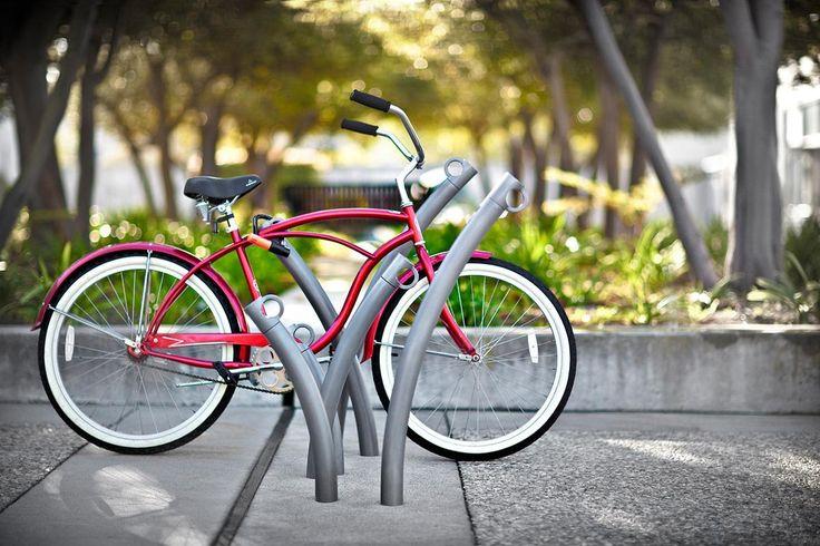 Bike Garden Bike Racks shown in cast-in-place configuration with Aluminum Texture powdercoat