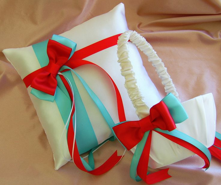Pool Aqua Tiffany Blue and Red Wedding Flower Girl Basket and Ring Bearer Pillow Set, Summer Wedding, Destination Wedding. $55.00, via Etsy.