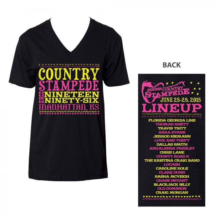 Celebrate the beginning of Country Stampede with the American Apparel v-neck. This black v-neck features the saying Country Stampede since 1996 Manhattan, KS on the front and this year's lineup on the back. The neon colors are the perfect way for ladies to remember every year of Country Stampede.