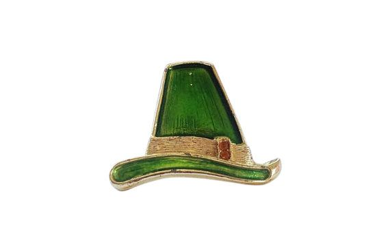 Green Vintage Brooch  Hat Brooch  Gold Tone Hat  by GoldDa on Etsy, $21.00