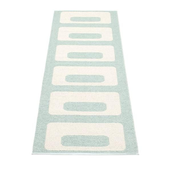 Woven Plastic Carpets made in Sweden made in a traditional weaving loom, keep craftsmanship at a top priority. This indoor/outdoor rug is suitable in any space! Welded edges.  Environmentally certified ISO 14001 plastic.