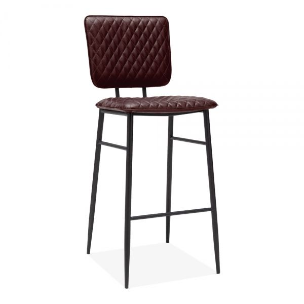 Elgin Quilted Metal Bar Stool Faux Leather Oxblood 76cm In 2019