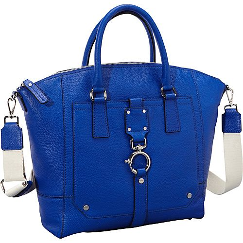 Milly Felicity Pebble Spring Clip Tote Cobalt Blue - Milly Designer Handbags
