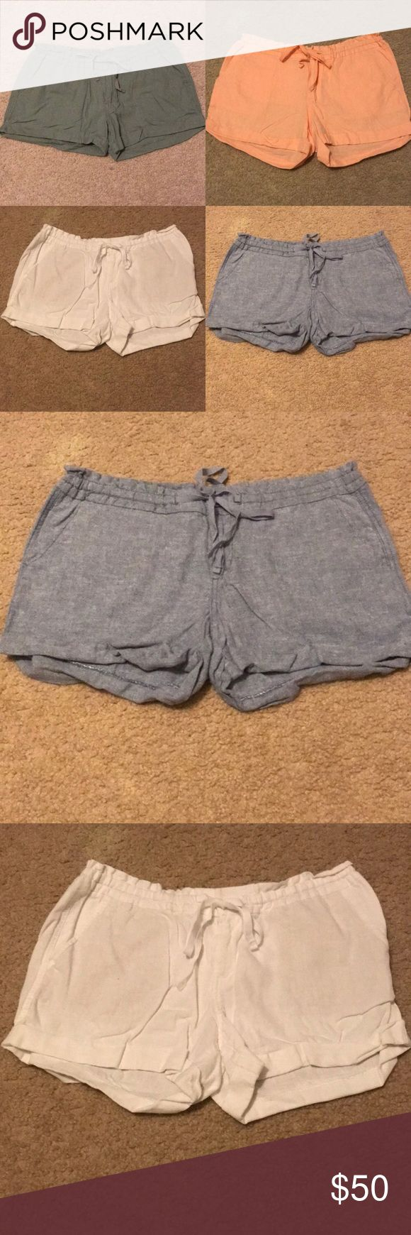 4 Pair of Linen Shorts from Old Navy They are all in good condition. If you don't want them all they are listed individually in my closet. Price firm on this bundle.  My clothes that have been worn have been washed, put in the dryer for a few minutes, & then hung to dry the rest of the time.  All the items are from a pet/smoke free home.  Absolutely no trades. Please don't ask! When you purchase more than likely it will ship out the following day. Old Navy Shorts