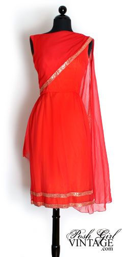 1960's Red Silk Ethnic Cocktail Dress