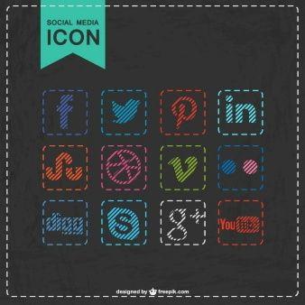 Social media icons stitched design