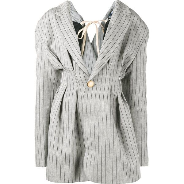 Jacquemus Jacquemus Oversized Stripe Jacket ($746) ❤ liked on Polyvore featuring outerwear, jackets, grey, striped jacket, gray jacket, jacquemus, grey jacket and stripe jacket