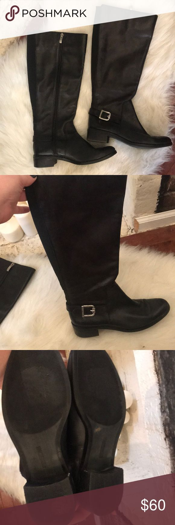 Vince Camuto wide calf black riding boots Black riding
