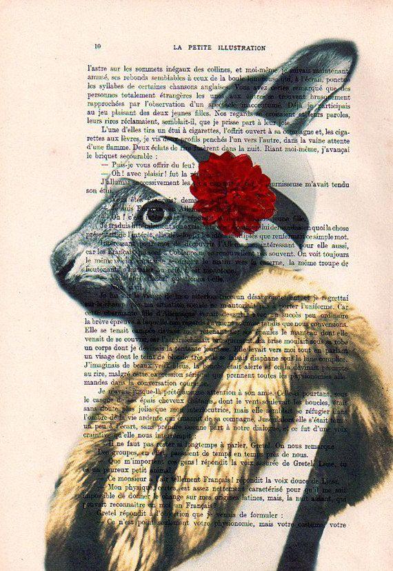 Miss Rabbit posing- Original Illustration-Art Print-Art Poster- Hand Painting Mixed Media- French 1920 Vintage Paper. $10.00, via Etsy.