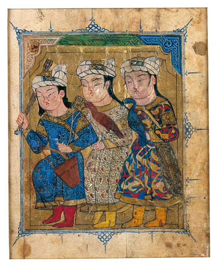 Frontispiece From A Manuscript Of The Sulwan Al-Muta' Of Ibn Zafar: Three Young Hunters Geography Egypt Period Mamluk, circa 1325-50...