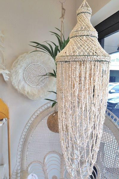 Shop this CABO GYPSY Shell Chandelier and other beach bungalow interiors online or in store at White Bohemian, Palm Beach, Gold Coast