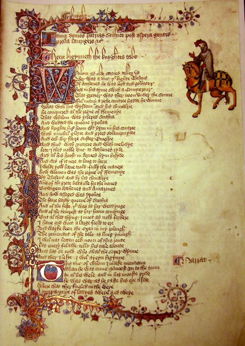 The Ellesmere Canterbury Tales manuscript, page from 'A Knight's Tale'.