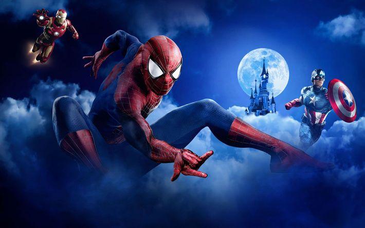Download wallpapers Iron Man, SpiderMan, Captain America, superheroes, art, MARVEL