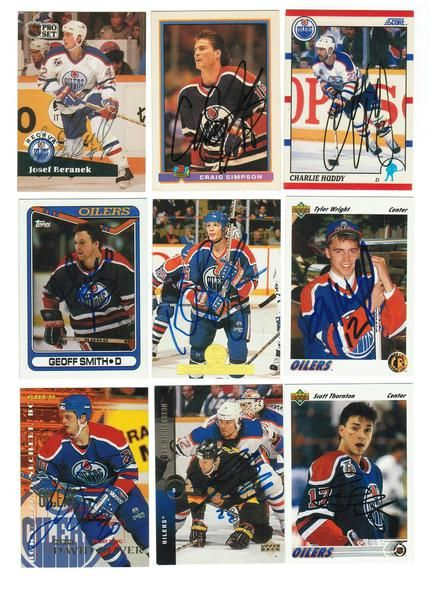 Edmonton Oilers Lot of 9 Autographed Cards. You will receive all cards in the picture. This Lot includes: Craig Simpson, Charlie Huddy, Josef Beranek, Geoff Smith, Scott Thornton, Luke Richardson, David Oliver, Kelly Bucherger & Tyler Wright.