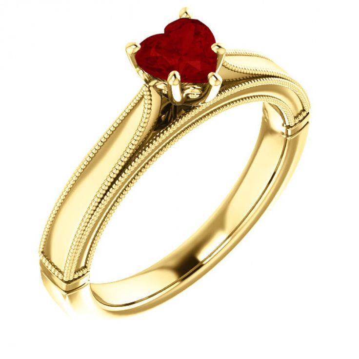 Inel de logodna din aur, cu inima din rubin II Cod produs: 122563RbH