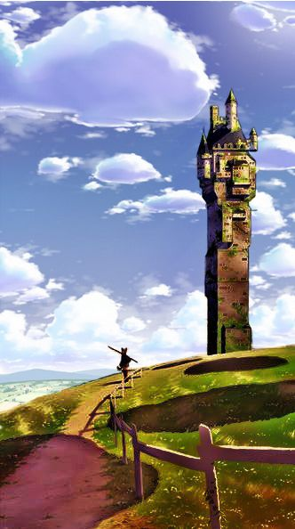 .___ORIGINAL & ENHANCED___ ____VERSIONS COMBINED____ castle, keep, tower ,anime ,landscape ,manga ,art ,fantasy ,temple, sky, clouds.