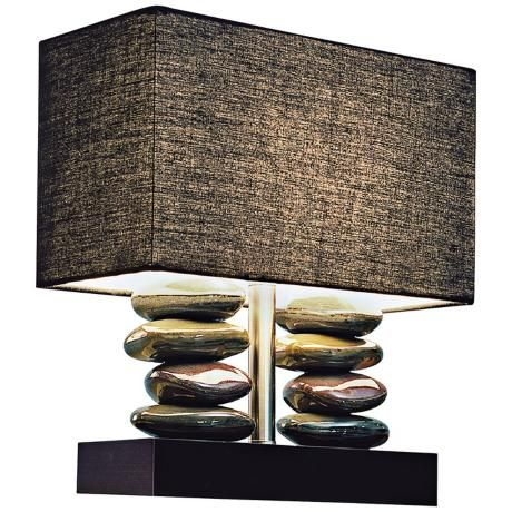 Amazing An Eye Catching Small Table Lamp Atop A Black Finish Rectangular Base. Two  Columns Of Stacked Glossy Ceramic Stones Create Height And A Chic Look. Pictures Gallery