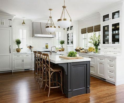 """MD R saved to KitchenRead More"""" Kitchen,: Excellent U Shape Kitchen Decoration With Solid Wood Kitchen Floor Along With Rectangular Grey Solid Wood Kitchen Islands And White Ki #interiordesign #kitchendesign #kitchendecor #kitchens"""