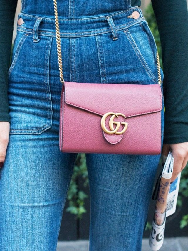 Gucci Marmont Leather Shoulder Bag - sweet pink ,simple