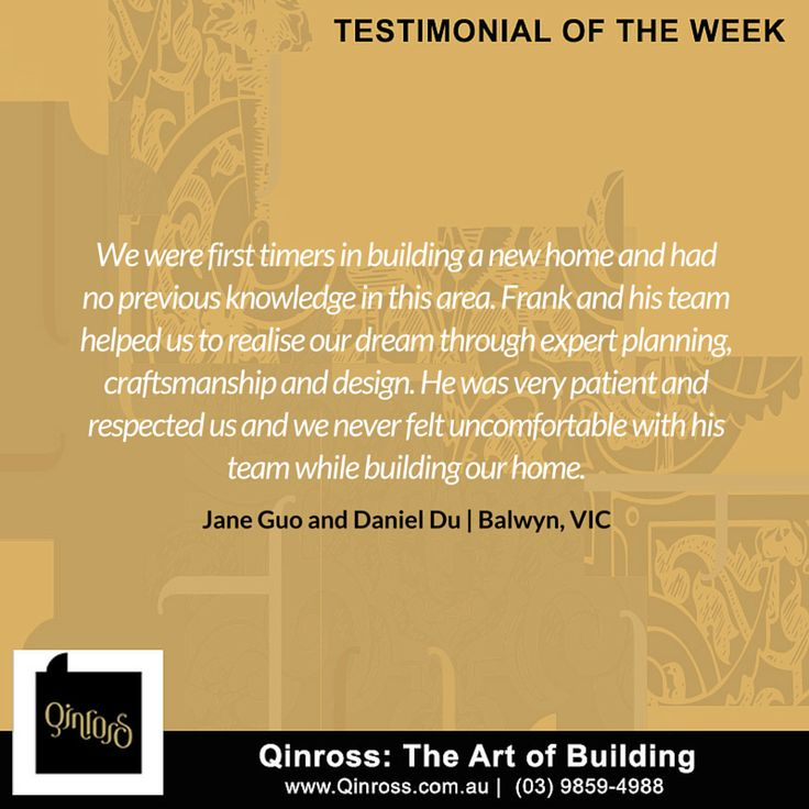 Need proof of our expertise and excellence?  Here's a testimonial from our clients Jane Guo and Daniel Du of Balwyn VIC! Thanks Jane and Daniel!  Want to see more testimonials? Visit our website: http://bit.ly/211vp1R  #client #satistified #feedback #goodfeedback #happyclient
