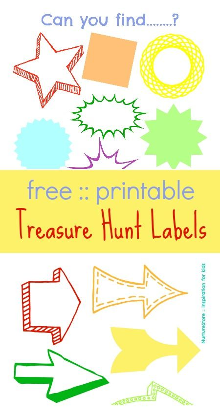 A super set of printable Treasure Hunt Labels - with lots of ideas for clues | NurtureStore :: inspiration for kids