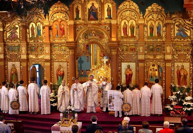 Celebrating Easter, beautiful Orthodox Church in Cleveland, Ohio