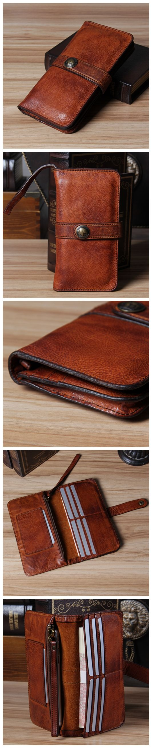 Men's Vintage Look Genuine Leather Long Bifold Wallet