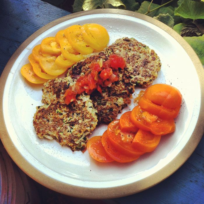 its the weekend, so breakfast is allowed to take longer than 15 min to make. i chose to try a variation on the zucchini cakes i posted about yesterday: 1/2 a large zucchini, grated 1/3c drie...