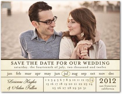 This chic #calendar Save the Date is unique with a twist of traditional. Find more unique Save the Date cards, magnets, and postcards at www.WeddingPaperDivas.com