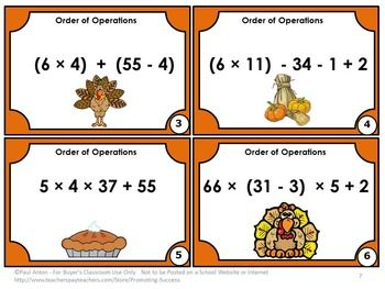 FREE Thanksgiving Math Task Cards 5th 6th Grade Order of Operations Games SCOOT Scavenger Hunt for Math Centers or Stations
