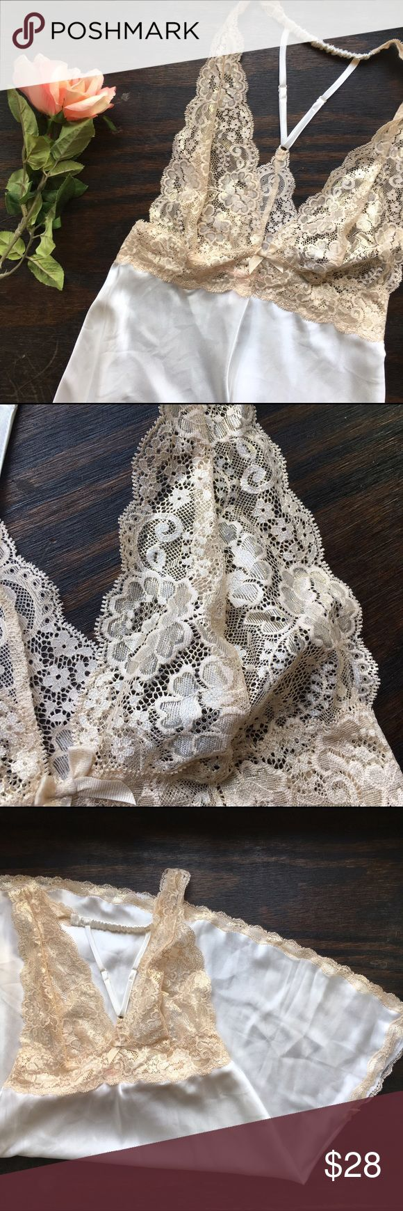 Victoria's Secret•Golden Lace Slip Sexy, slinky, & shimmery! Never been worn. A gorgeous nightie for your honeymoon! But, no special occasion necessary! 🌟😉 Victoria's Secret Intimates & Sleepwear Chemises & Slips