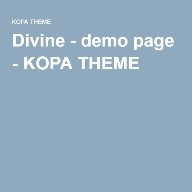 Divine - demo page - KOPA THEME
