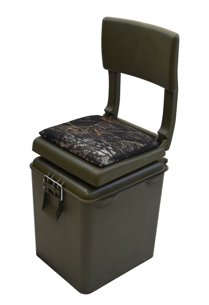 Hunting fishing seat insulated cooler green camo stool for Fishing bucket seat