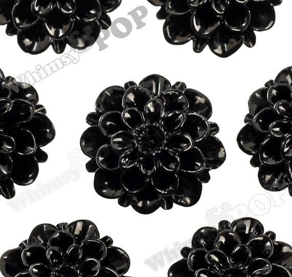 20mm Black Dahlia Chrysanthemum Flower Cabochons Flower Cabs Flat Back Embellishment Mum Shaped R2 081 Beaded Flowers Resin Flowers Jewellery Making Materials