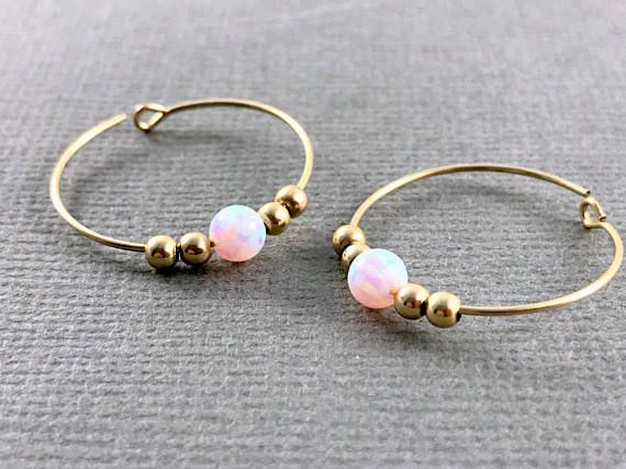 White Opal Gold Hoop Earrings Opal Earrings Gold Hoop Earrings