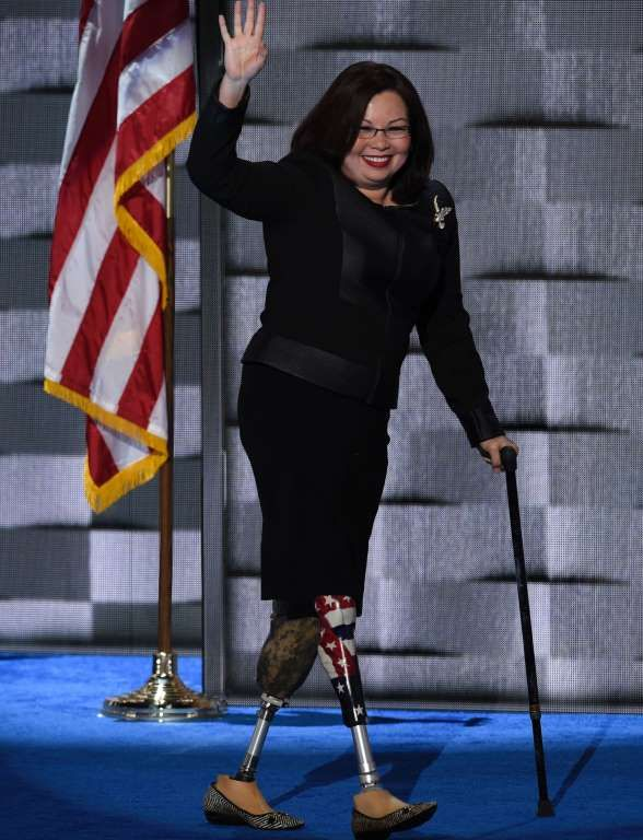 Slide 45 of 50: US Representative Tammy Duckworth of Illinois arrives to address delegates on the fourth and final day of the Democratic National Convention at Wells Fargo Center on July 28, 2016 in Philadelphia, Pennsylvania.