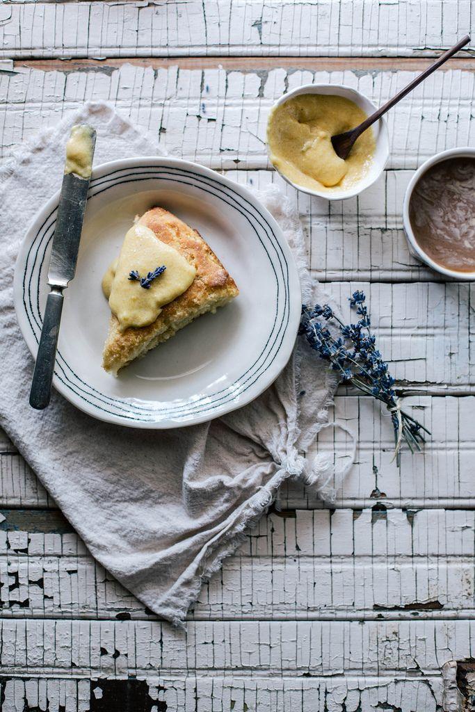 Local Milk   Cornmeal Brown Butter Scones & Lavender Peach Curd, plate by BTW Ceramics c/o Scoutmob Shoppe