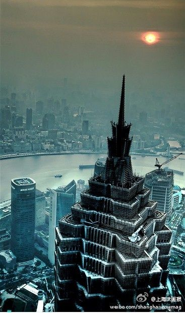 Snowy Jin Mao as seen from the Shanghai World Financial Center Observtory.