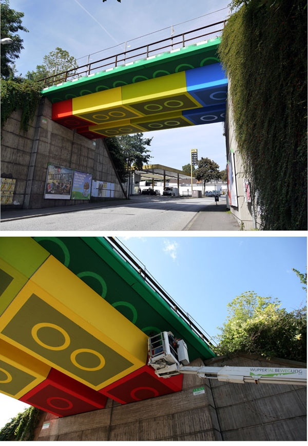 Street Artist 'Megx' Creates Giant Lego Bridge in Germany ( http://www.thisiscolossal.com/2012/07/street-artist-megx-creates-giant-lego-bridge-in-germany/ )