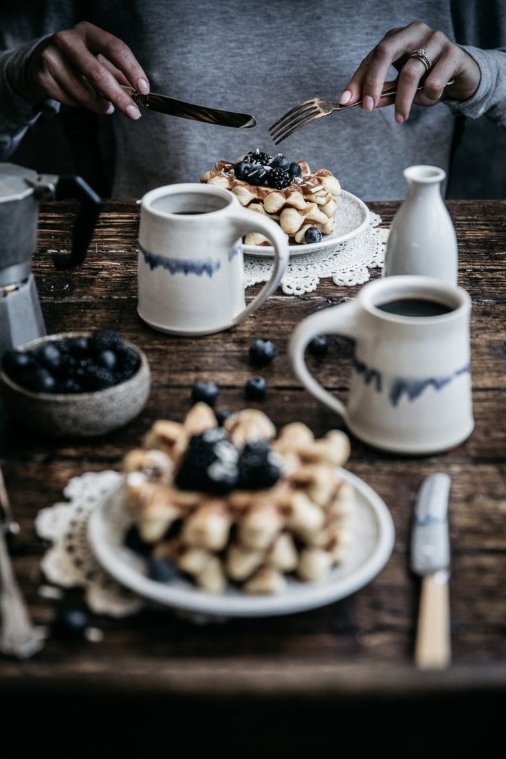 Fluffy vanilla bean waffles kissed with cinnamon and fresh nutmeg, topped with fresh berries and too much (does such a thing exist?) maple syrup! Anisa Sabet | The Macadames | Food Styling | Food Photography | Props | Moody | Food Blogger | Recipes
