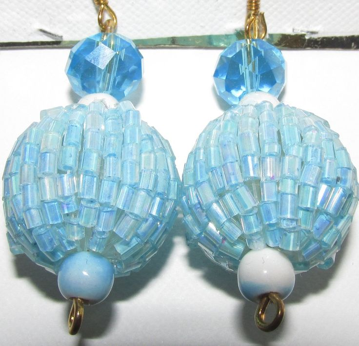 Light Blue Crystal White bead a Large Light Blue Embroidered Ball and Two Tone Blue and White bead