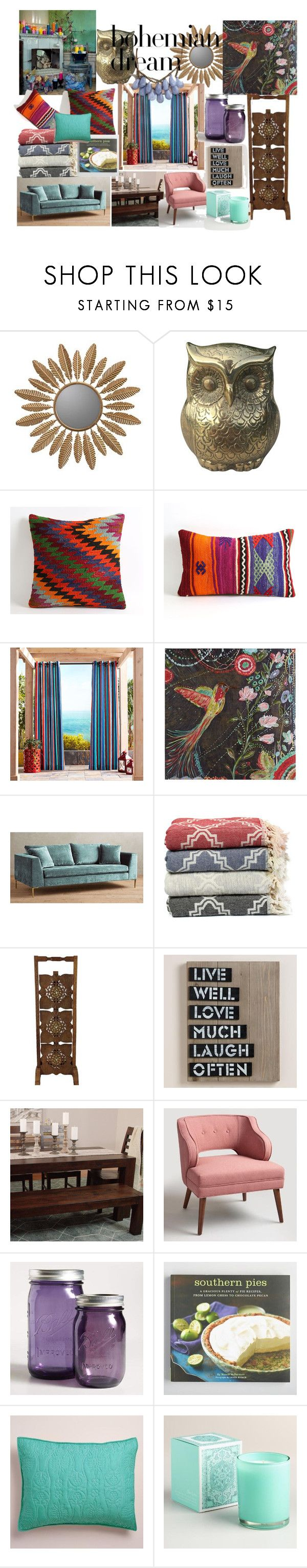 """Colorful Dream"" by sallytcrosswell on Polyvore featuring interior, interiors, interior design, home, home decor, interior decorating, Cooper Classics, Pier 1 Imports, Anthropologie and Cost Plus World Market"