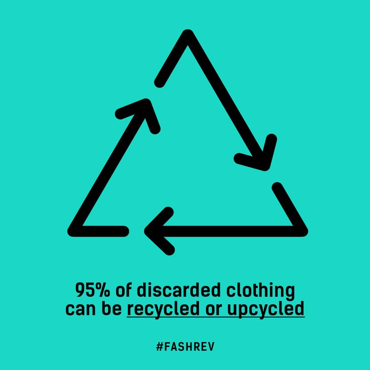 95% of discarded clothing can be recycled or upcycled. #FashRev #recycle #upcycle #fashion #infographic #fact