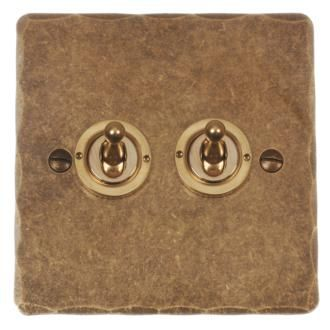 2 Gang Brass Dolly Switch (Hammered) made by Jim Lawrence
